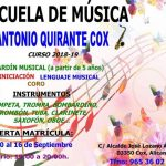 """Inscripción Escuela de Música """"Antonio Quirante"""" 18/19"""